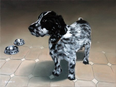 Millie the dog oil painting