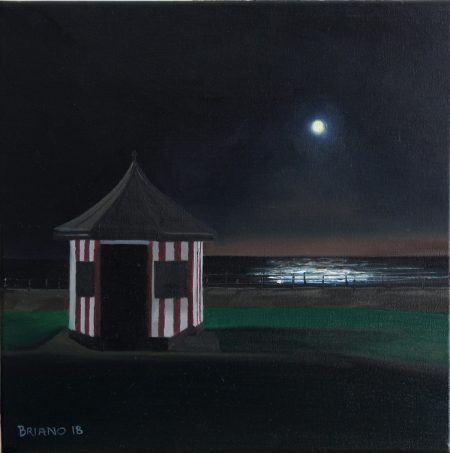 bray beach hut moonlight